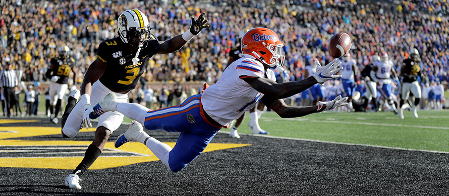 Florida wide receiver Kadarius Toney, right, is unable to catch a pass in the end zone as Missouri safety Ronnell Perkins defends during the second half of an NCAA college football game Saturday, Nov. 16, 2019, in Columbia, Mo. (AP Photo/Jeff Roberson)